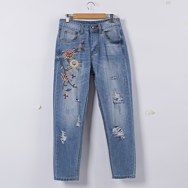 8add024269a Embroidered flower ripped high waist jeans for women Normcore blue straight  distressed warm jeans winter plus size female pants