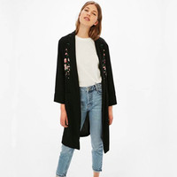 Blouses Kimono Cardigan Casual Womens Tops And Blouses Kimono Cardigan Floral Summer Long Long sleeved Embroidered Cardigan