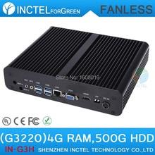 Безвентиляторный мини настольных Intel H87 с Intel Pentium двухъядерный G3220 3.0 ГГц процессора жк-hdmi VGA DP три дисплей 4 г оперативной памяти 500 г HDD
