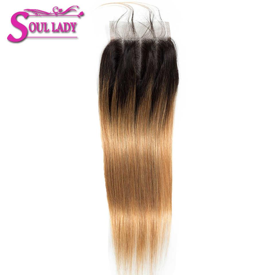 Soul Dame Gekleurde Blonde Bundels Met Sluiting 1B/27 Two Tone Kleur Remy Peruaanse Ombre Straight Menselijk Haar Bundels met Sluiting