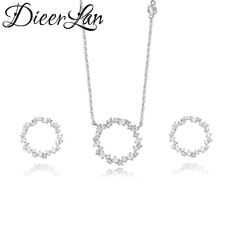 DIEERLAN Dubai Rhinestone Jewelry Set 925 Sterling Silver Zirconia Circle Earrings Long Chain Choker Necklaces for Women Wedding