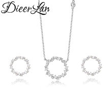 DIEERLAN Dubai Rhinestone Jewelry Set 925 Sterling Silver Zirconia Circle Earrings Long Chain Choker Necklaces for Women Wedding(China)