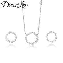 DIEERLAN Dubai Rhinestone biżuteria ustaw 925 srebro cyrkon koło kolczyki długi Choker łańcuszek naszyjniki dla kobiet ślub