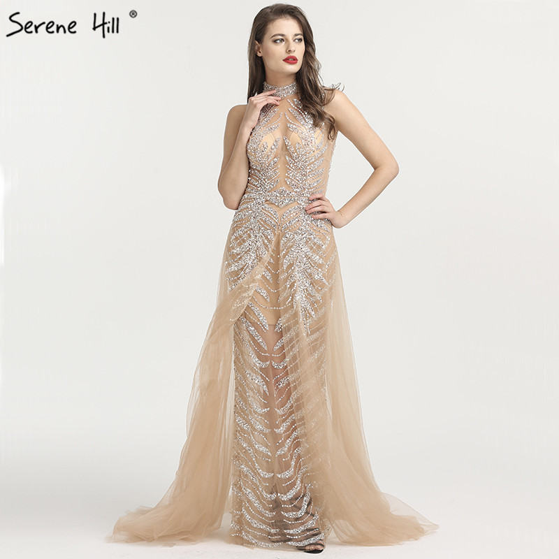 c5bfce08d65f3 Newest Design A-Line High Collar Evening Dresses Sleeveless Luxury Beading  Sequined Sexy Formal Evening Gowns Real Photo LA6564