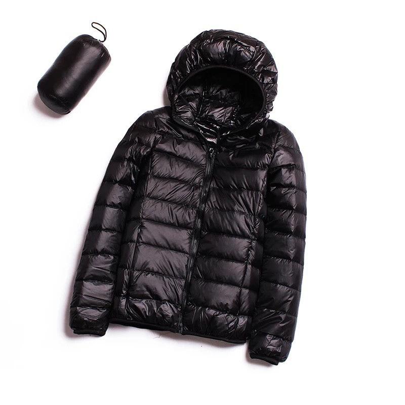 2018   Down   jacket women hooded 90% duck   down     coat   Ultra Light warm Female Solid   Down   jacket ZLC001