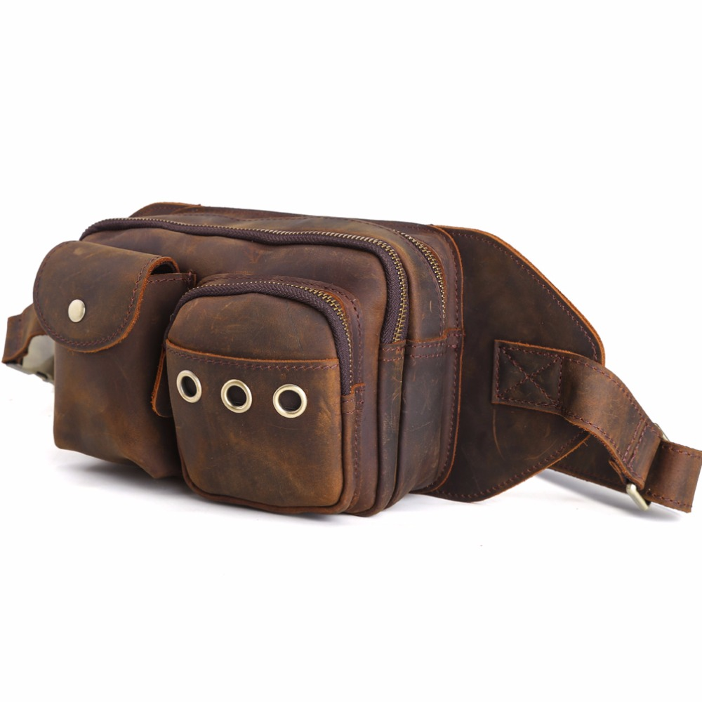 Tiding Cool Waist Bag Cowhide Leather Fanny Pack Travel Small Bag for iPad Mini Cell Phone and Small Necessities 30087