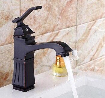 Copper short bathroom sink basin faucet, Antique black wash basin faucet hot and cold, Oil Rubbed Bronze basin faucet mixer tap