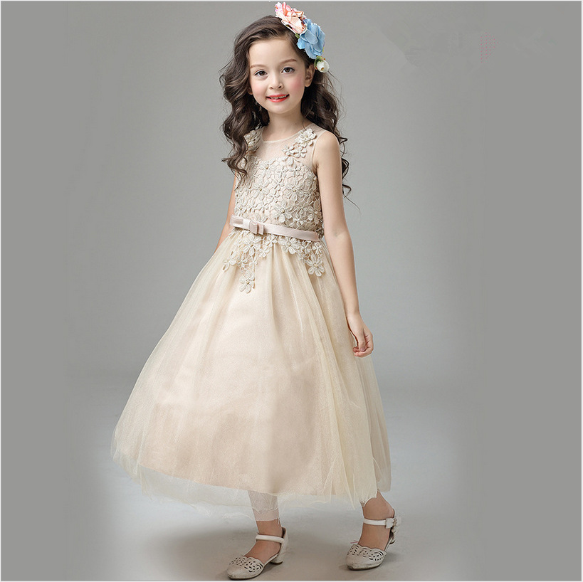 Princess A-Line Sleveless Flower Girls Dresses For Weddings Custom First Communion Dress Gown Lace Pageant Dresses for Girls 2017 new flower girls dresses for weddings jewel lace appliques princess girls pageant dress first communion dress