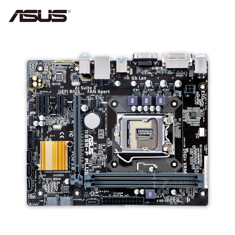 Original Used Asus B85M-F PLUS Desktop Motherboard B85 Socket LGA 1150 i7 i5 i3 DDR3 16G SATA3 Micro-ATX 100% Fully Test asus h87 plus deluxe board 1150 b85 motherboard