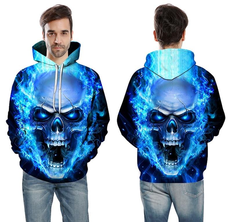 e778e9e22 Nuevo cráneo llama azul Sudaderas 3D sudaderas hombres mujeres con capucha  suelta tracksuits Otoño Invierno streetwear Chaquetas HOODIE en Camisas y  ...