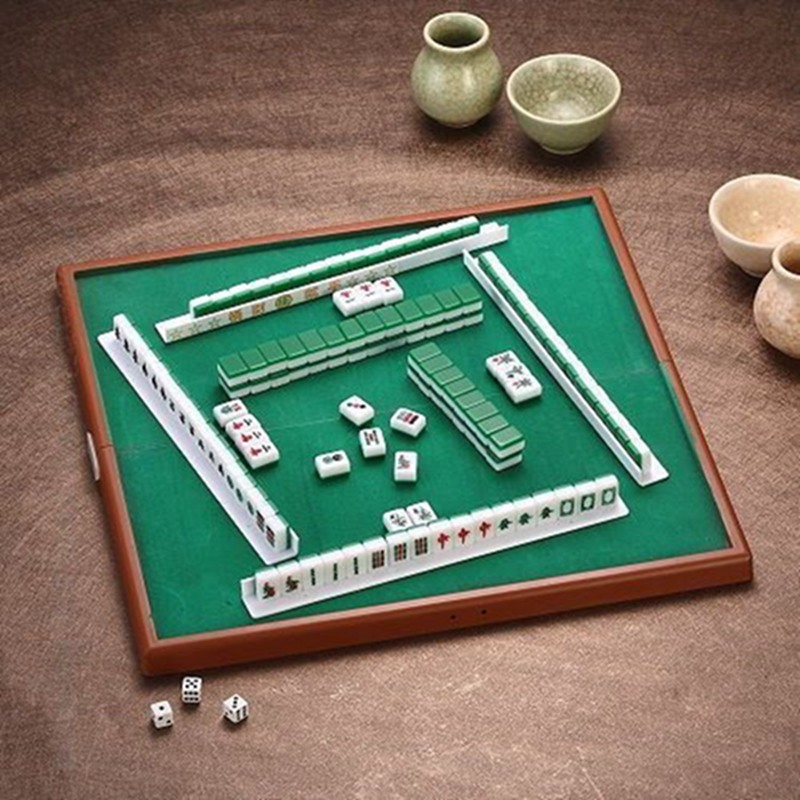 Portable Mahjong Set Chinese Antique Mini Mahjong Games Home Games Mini Mahjong Chinese Funny Family Table Board Game şanş oyun makinesi