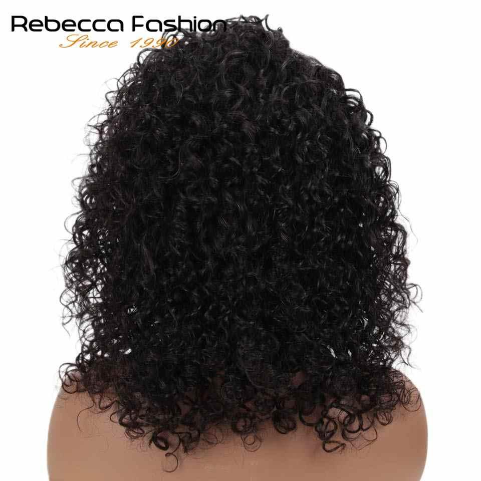 Jerry kręcone koronki przodu włosów ludzkich peruki z dziecięcymi włosami brazylijski koronki część krótkie kręcone Bob peruki dla kobiet pre-oskubane peruka Rebecca