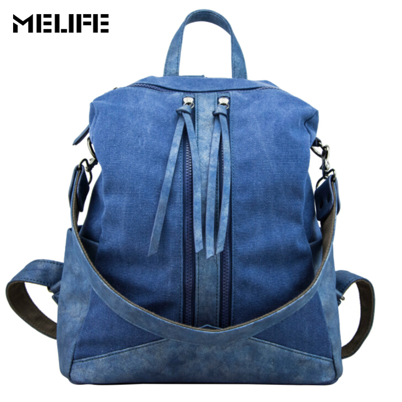 MELIFE Waterproof Women backpack Travel shoulder bags Small Female School Fashion Canvas bag pack Teenage girls college student 2017 fashion women waterproof oxford backpack famous designers brand shoulder bag leisure backpack for girl and college student