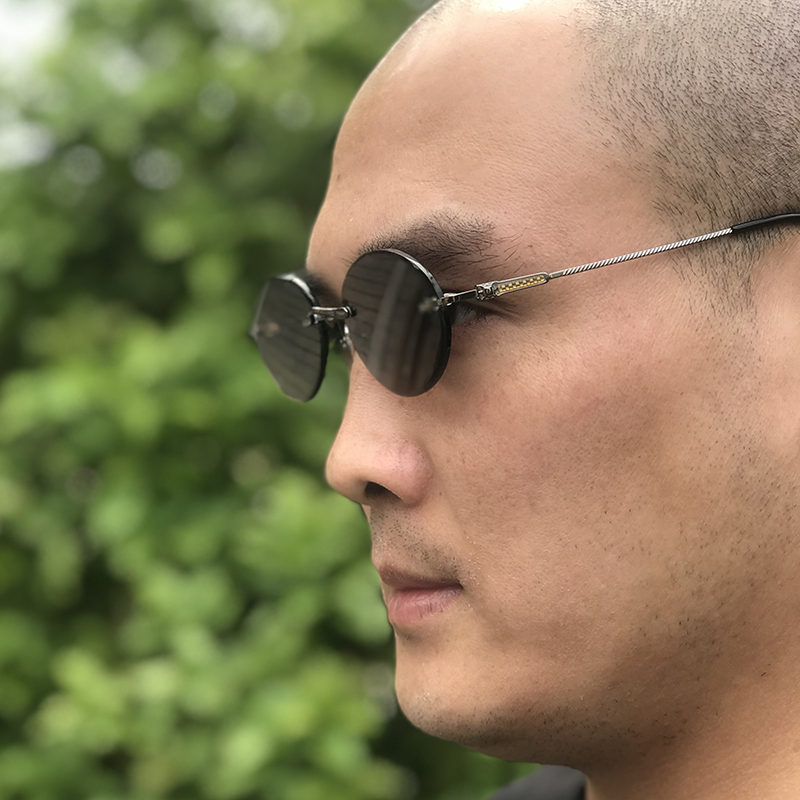 Vazrobe lunettes de soleil en verre hommes cristal naturel lunettes de soleil pour homme marron sans monture ovale Anti rayures sèches UV400 Steampunk Vintage