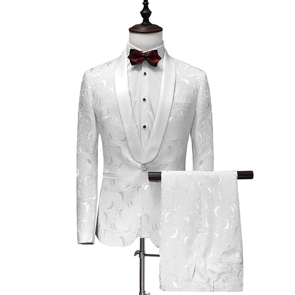 US $19.9 |JinXuanYa Men Suit Men Single Breasted White Suits Tuxedo Grooms  Wedding Suits for Men Party Dress Slim Fit Plus Size S 5XL-in Suits from ...