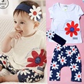 Baby Girl Summer Clothing Set Flower Print Short Sleeve Tshirt Pant Headband 3PCS Set For Baby Girl 2015 Fashion New