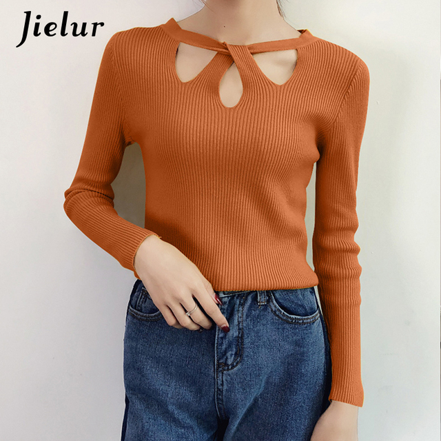 Jielur Autumn Sexy O-neck Hollow Out Knitted Sweater Female Simple Leisure  Slim Ladies Tops Fashion Solid Color Bottoming Shirt 7e7c4de46