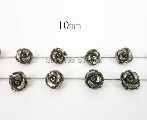 무료 배송! 15.5 인치 스트랜드 천연 철 황철석 장미 꽃 모양의 구슬, DIY 구슬 보석 10 미리메터
