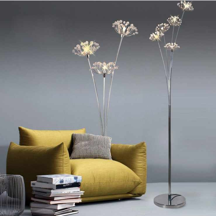 Modern LED Floor Lamps for Bedroom Lighting Fixtures Led Ball pendant lamps 1-32 heads many types silver G4 LED Dandelion light