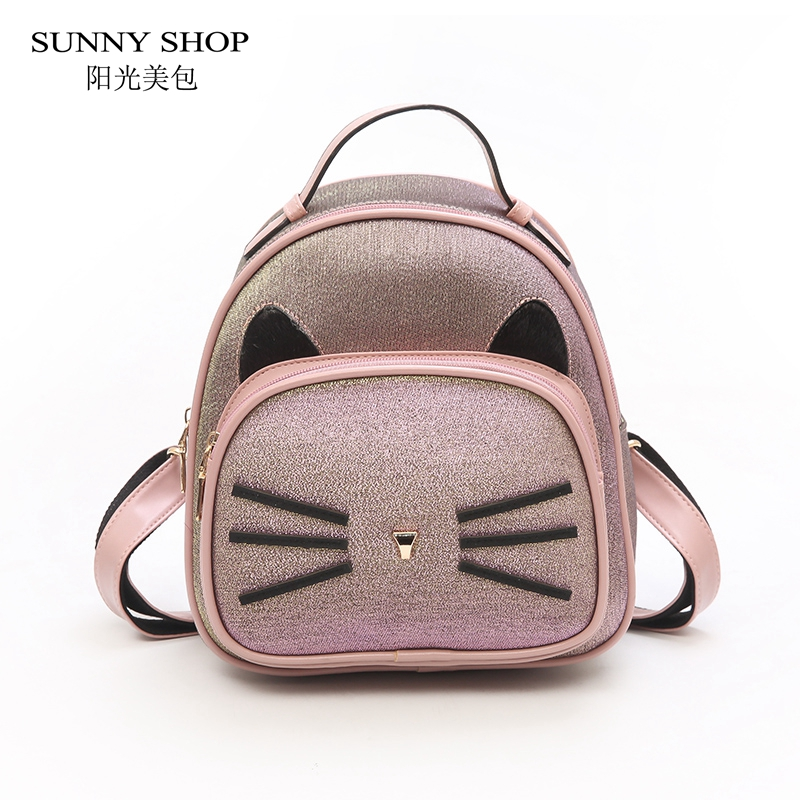 d31c8b73cd SUNNY SHOP Genuine Leather Backpack Female 2018 New Fashion anti theft Backpack  School Bag Brown Black Green Small Girls