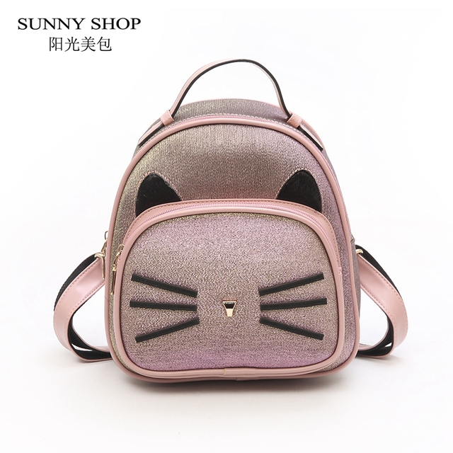 9ef130da6fdc SUNNY SHOP 2018 Fashion Cute Cartoon Cat Women Backpack Small Pink PU  Leather Ladies Bagpack Korean
