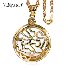 Heart Lovely Magnifying glass Pendant Necklace Gold and Platinum plate with High quality crystal Magnifier necklace