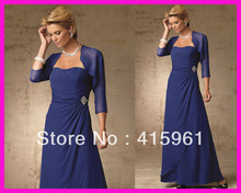 Modest Plus Size Full Length Chiffon Mother of the Bride Dress Gown With Jacket M1544