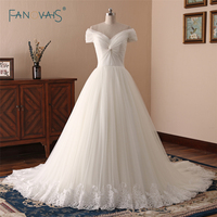 Elegant Wedding Dresses 2018 Off The Shoulder Pleated Lace Bridal Gown Long Wedding Gown Ivory White