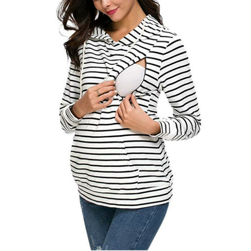 Blusa tshirt mulheres mulheres maternidade outono tarja lactação de manga longa amamentação roupas de enfermagem superior para grávidas