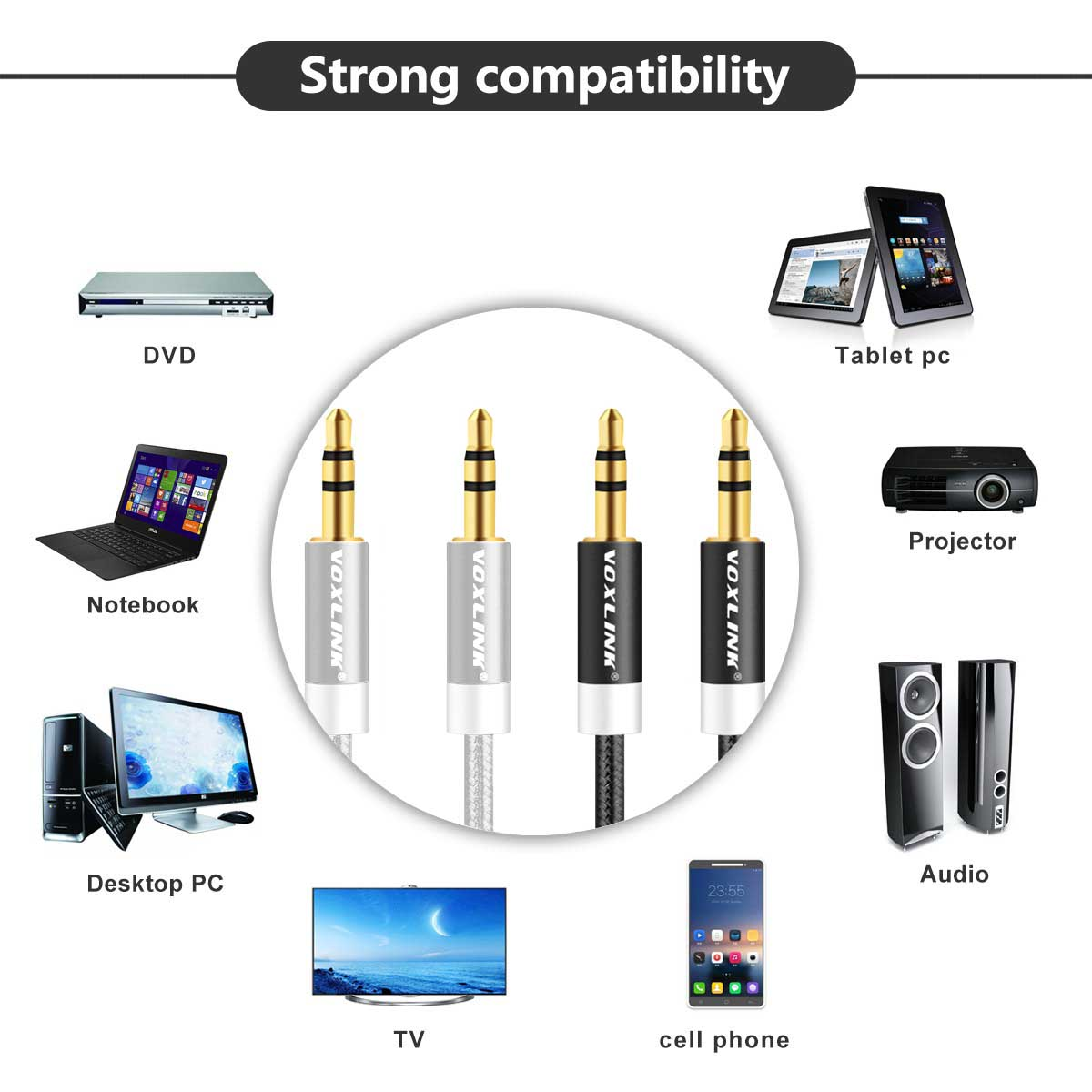 Image 5 - VOXLINK 5Pack 3.5 Audio Cable 3.5mm Speaker Line Aux cord for iPhone 6 Samsung galaxy Car Headphone for Xiaomi redmi Audio Jack