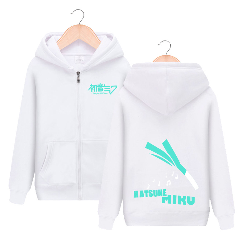 VOCALOID Hatsune Miku Zipper Hooded Hoodie Cosplay Costume Men Women Jacket Casual Sweatshirt Fashion Streetwear