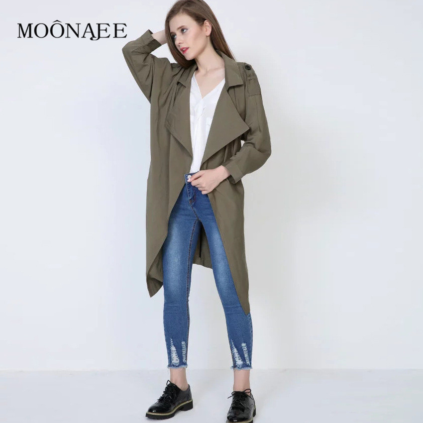 2017 New Spring Fashion Trench Coat Irregular Loose Women's Casual all-match Windbreaker Rain Coats With Belt FY01