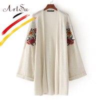 ArtSu Fashion Floral Embroidery Knitting Kimono Cardigan Women Loose Winter Sweater 2017 New Female Cardigans Outwear