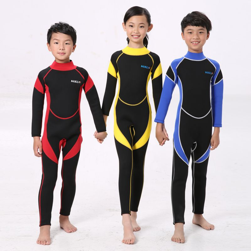 Child Neoprene Diving Wetsuit Boys Girls 4 To 14 Years Old Swimsuit Long Sleeve One-Piece Swimwear Brand New And High Quality
