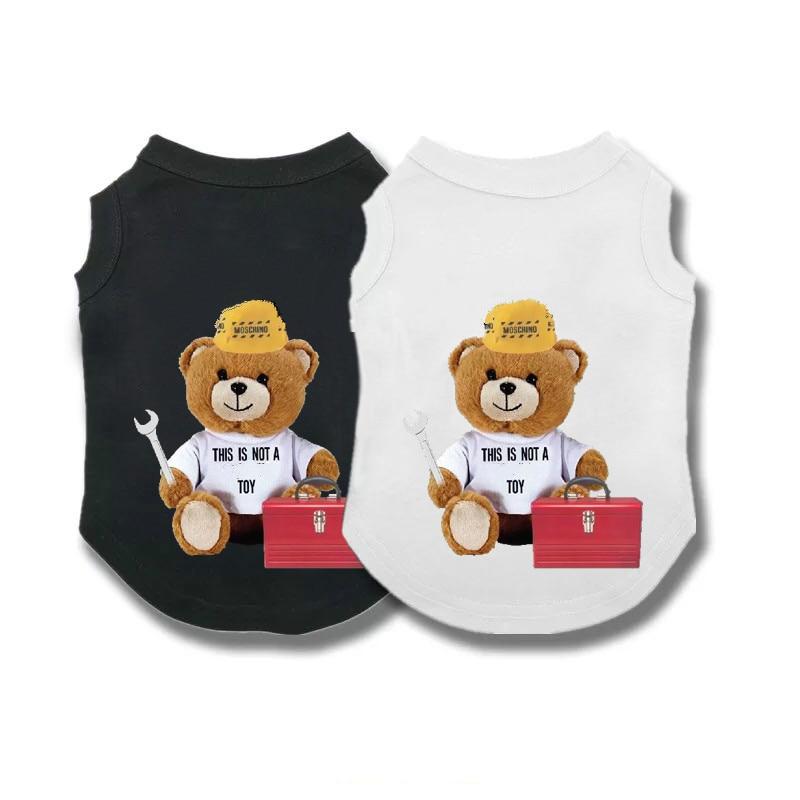 Spring and summer pet shirt sports shirt Chihuahua cute bear printing dog vest cotton soft hair