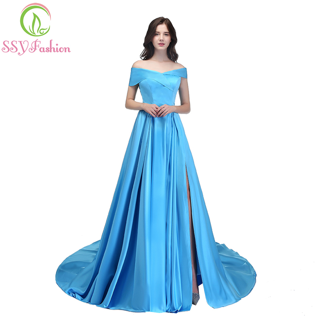40a1b07793 US $99.0 |SSYFashion New Banquet Simple Satin Evening Dress Boat Neck High  split Sweep Train Elegant Prom Party Gown Custom Formal Dresses-in Evening  ...