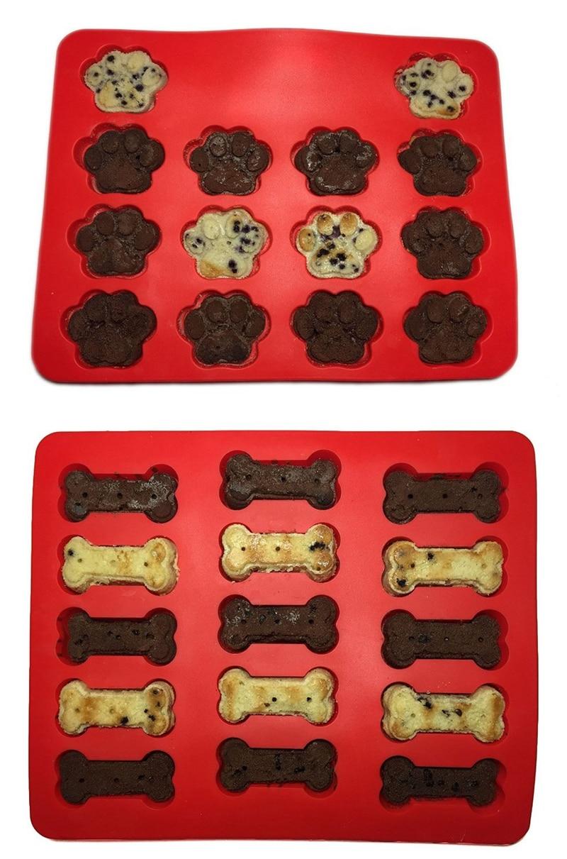 2PCS Dog Bone Paw Silikonový pekáč Kuchyňský dort Formulář Biscuit Pan Silikonové pečení Formulár koláče Formy na pečení pekáčů