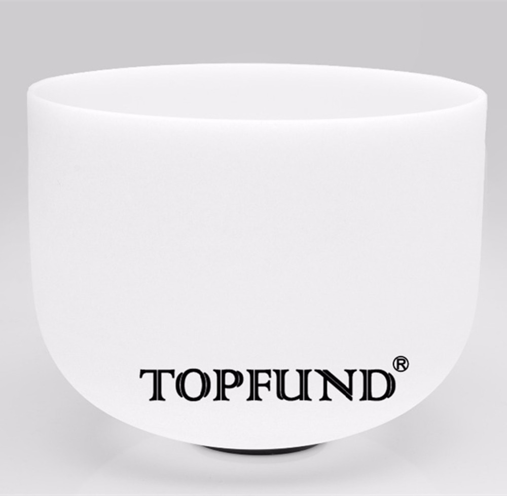 TOPFUND Frosted Quartz Crystal Singing Bowl Perfect Pitch F# Note Thymus Chakra 11 With Free Mallet and O-Ring topfund 432hz tuned f note heart chakra frosted quartz crystal singing bowl 12 free mallet and o ring