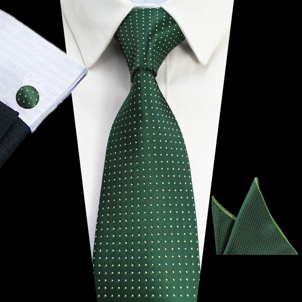 RBOCOTT 8cm Tie Sets New Design For Men Plaid & Dot & Paisley Tie Handkerchief Cufflinks Sets Business Wedding Party Neck Ties