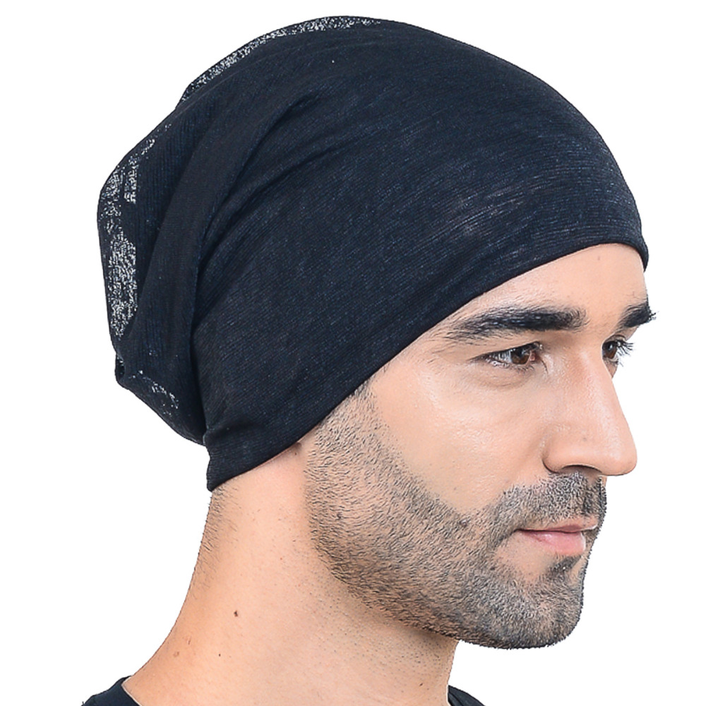 2a0de05b31c Jersey Thin Hollow Slouch Beanie Cap Baggy Casual Solid SkullCap Summer  Cool Outdoor Hats HISSHE