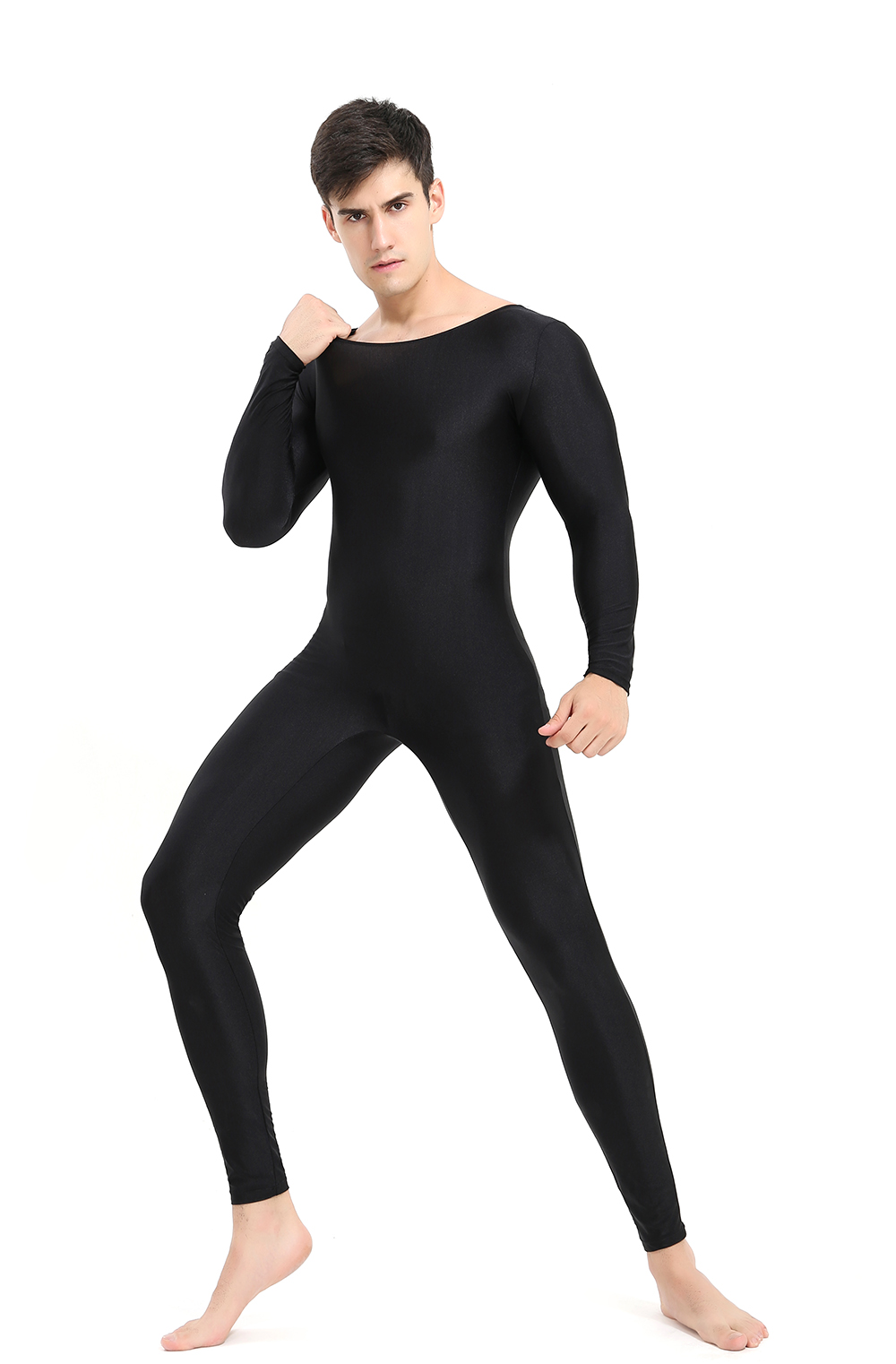 SPEERISE Mans Black Long Sleeve Unitard Adult One-piece Spandex  Bodysuit Full Body Jumpsuit Dance Wear Free shipping