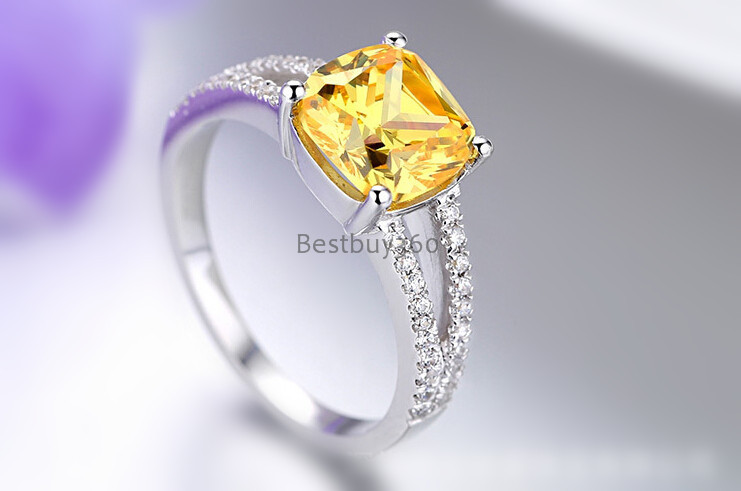 carat prongs silver ring simulation of high end luxury gold plated diamond