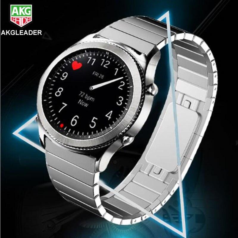 Bracelets de montre 22mm pour Samsung Gear S3 Bracelet frontière classique Bracelet en acier inoxydable Bracelet de montre pour montre galaxie 46mm