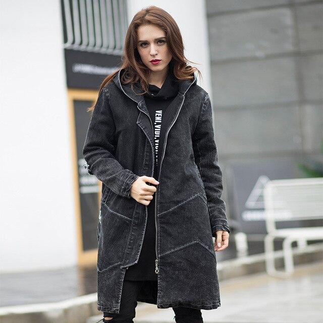 2016 de Inverno mulheres de longo Denim casaco com capuz Acolchoado roupa feminino jeans casual de Algodão-acolchoado sobretudo top plus size outerwear XXXXXL