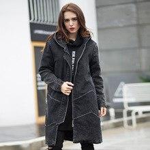2016 Зима женщины длинные Джинсовые пальто с капюшоном Стеганые наряд женские случайные джинсы Хлопка мягкой пальто верхняя плюс размер верхняя одежда XXXXXL