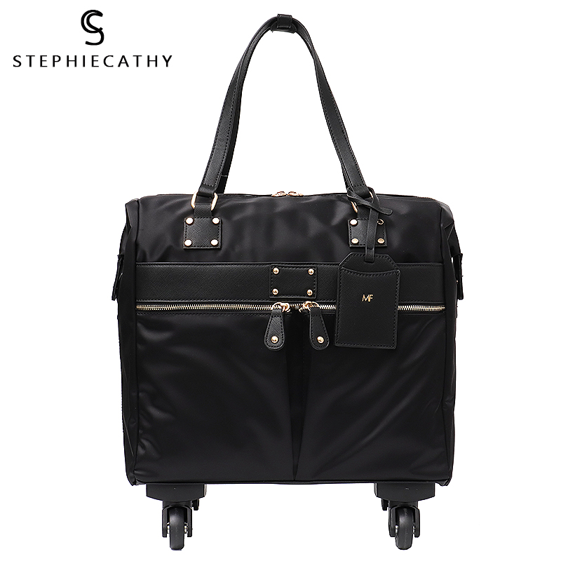 SC Carry Ons Travel Bag Unisex Spinner Wheels Microfiber Vegan Leather Luggage Overnight Suitcase Holiday Pockets