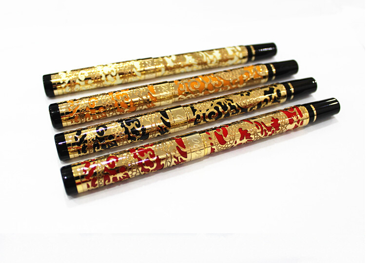 все цены на high quality Jinhao Dragon pen Year Golden with Black birthday present Metal Fountain Pen Nib Gifts Writing ink pen онлайн