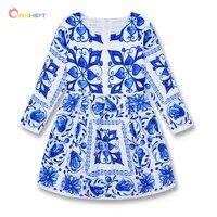 Blue And White Porcelain Flower Girls Dresses Winter 2016 Toddler Children Clothing Long Sleeve Brand Kids