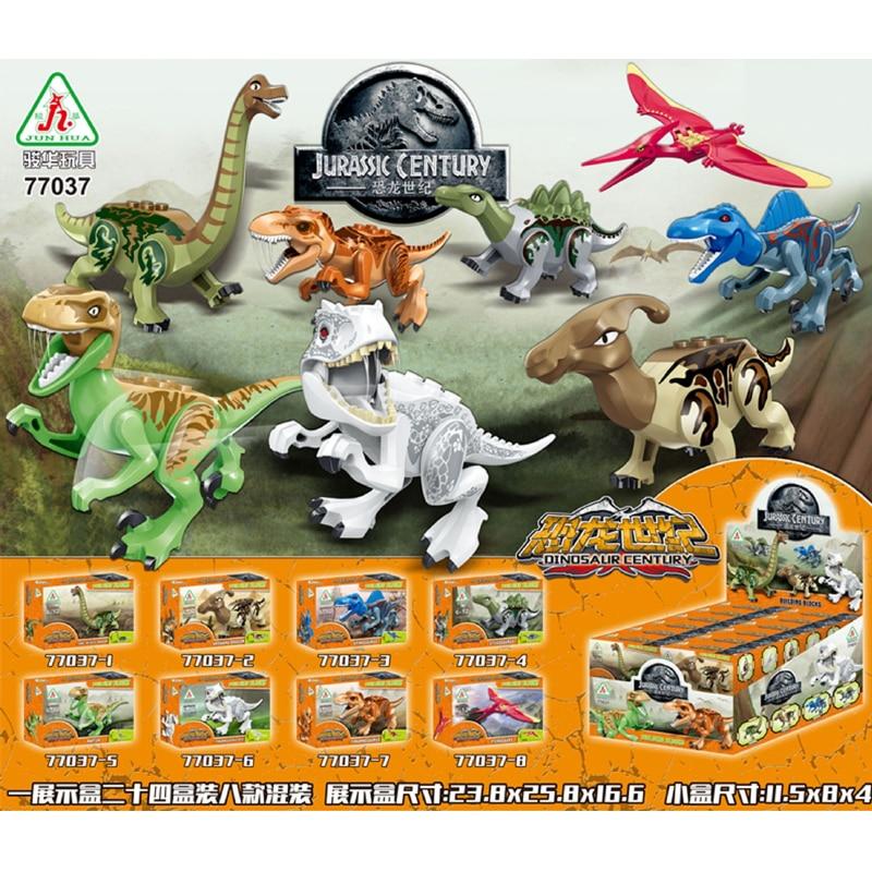8 pz/lotto Jurrassic Mondo Legoingly Jurassic Dinosauro Figure Set Per I Bambini Animale Building Blocks Imposta Giocattoli per Bambini BKX24