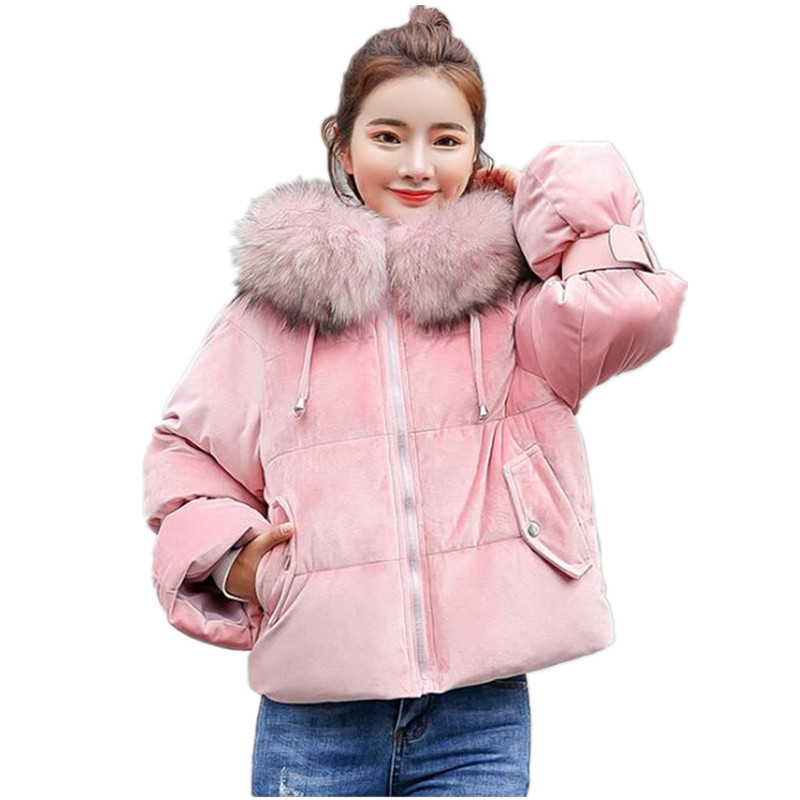 2019 New Short Winter Jacket Women Thickening Warm Outerwear   Parkas   Female Cotton Padded Loose Coats Hooded G039